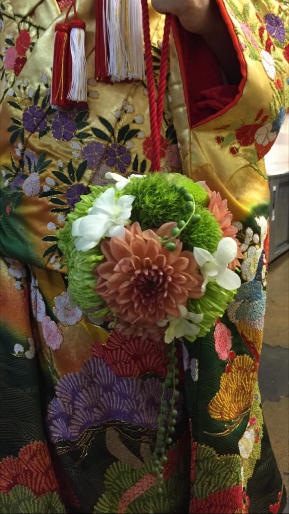 ブライダルフェア 色打掛のお花コーディネート